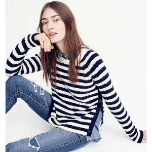 [J. Crew] Striped Cable-Knit Sweater with Buttons